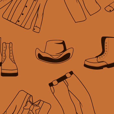 Editable Western Men Clothes Vector Illustration Seamless Pattern for Creating Background and Decorative Element of Wild Western Culture Related Project