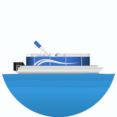 Editable Side View Pontoon Boat on Wavy Blue Water Vector Illustration in Circle Frame for Artwork Element of Transportation or Recreation Related Design Vecteurs