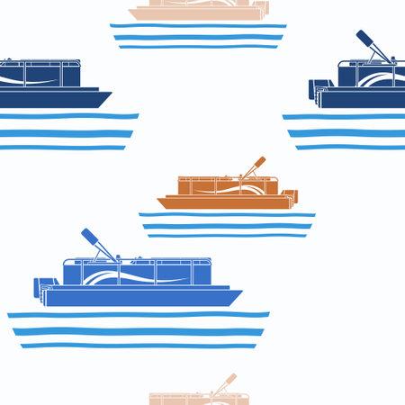 Pontoon Boat in seamless pattern