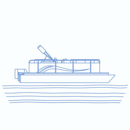 Editable Side View Pontoon Boat on Wavy Water Vector Illustration in Outline Style with Blue Color for Artwork Element of Transportation or Recreation Related Design Vecteurs