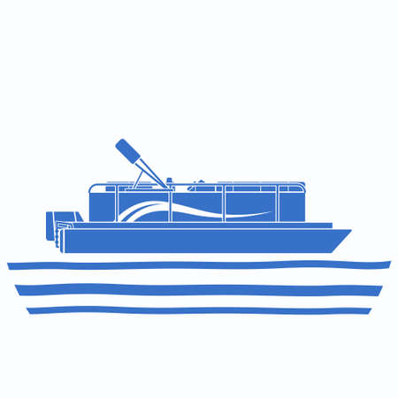 Editable Side View Pontoon Boat on Wavy Water Vector Illustration in Flat Monochrome Style with Blue Color for Artwork Element of Transportation or Recreation Related Design