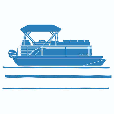 Editable Vector of Side View Pontoon Boat on Wavy Water Illustration in Flat Monochrome Style with Blue Color for Artwork Element of Transportation or Recreation Related Design