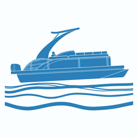 Editable Side View Pontoon Boat on Wavy Water Vector Illustration with Blue Color in Flat Monochrome Style for Artwork Element of Transportation or Recreation Related Design
