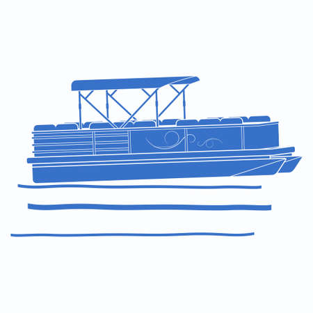 Editable Flat Monochrome Style Pontoon Boat on Wavy Water Vector Illustration with Blue Color and Side View Perspective for Artwork Element of Transportation or Recreation Related Design Vecteurs