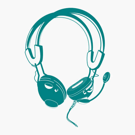 Editable Flat Monochrome Style Earphone Vector Illustration in Teal Color for Audio or Electrical Related Design Project