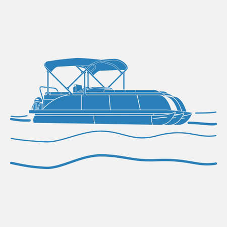 Editable Isolated Flat Monochrome Style Pontoon Boat on Wavy Water Vector Illustration with Blue Color and Semi-Oblique Side View