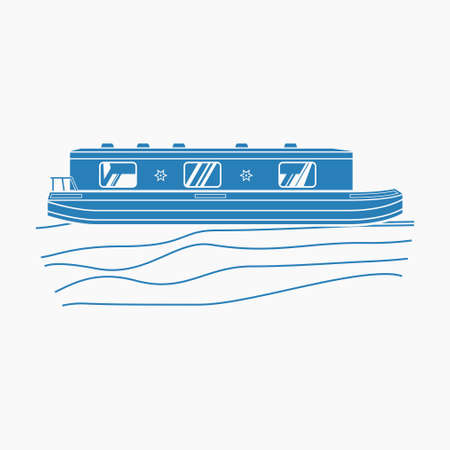 Editable Isolated Flat Monochrome Style Side View Canal Boat on Wavy Water Vector Illustration for Artwork Element of Transportation or Recreation of United Kingdom or Europe Related Design