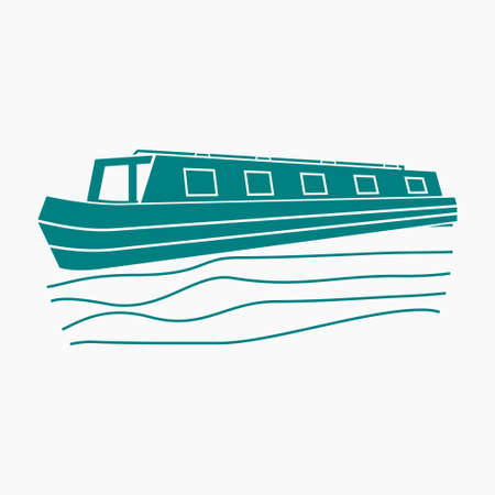 Editable Flat Monochrome Style Three-Quarter Oblique View Narrow Boat on Wavy Water Vector Illustration for Artwork Element of Transportation or Recreation of United Kingdom or Europe Related Design