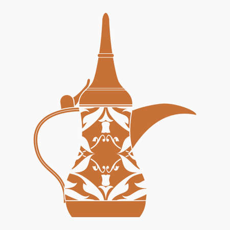 Editable Isolated Flat Monochrome Style Side View Patterned Traditional Arab Dallah Coffee Pot Vector Illustration for Cafe Related Design or Arab History and Tradition Culture