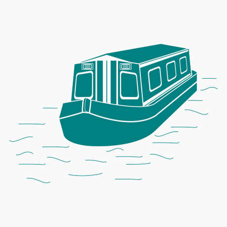 Editable Three-Quarter Top Front Side Oblique View Floating Canal Boat on Water Vector Illustration in Flat Monochrome Style for Transportation or Recreation of United Kingdom or Europe Related Design