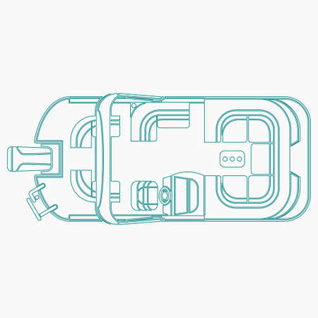 Editable Isolated Outline Style Top View Pontoon Boat Vector Illustration for Artwork Element of Transportation or Recreation Related Design
