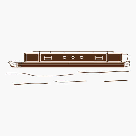 Editable Isolated Flat Monochrome Style Side View Narrow Boat Vector Illustration for Transportation or Recreation of United Kingdom or Europe Related Design