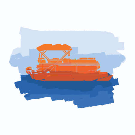 Editable Vector of Side View Pontoon Boat With Water and Sky Illustration in Flat Brush Strokes Style for Artwork Element of Transportation or Recreation Related Design