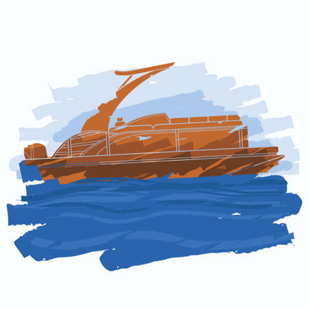 Editable Vector of Side View Sport Arch Pontoon Boat With Water and Sky Illustration in Flat Brush Strokes Style for Artwork Element of Transportation or Recreation Related Design Vecteurs