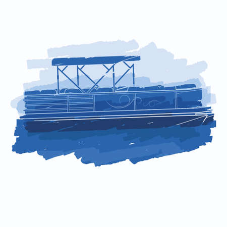 Editable Isolated Flat Brush Strokes Style Semi-Oblique Side View Pontoon Boat on Calm Water Vector Illustration for Artwork Element of Transportation or Recreation Related Design