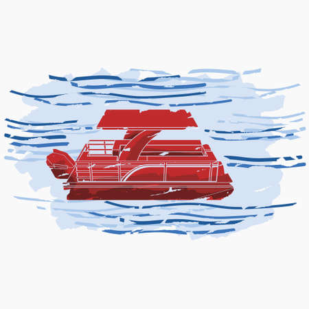 Editable Three-Quarter Top Side View Pontoon Boat on Wavy Water Vector Illustration in Flat Brush Strokes Style for Artwork Element of Transportation or Recreation Related Design