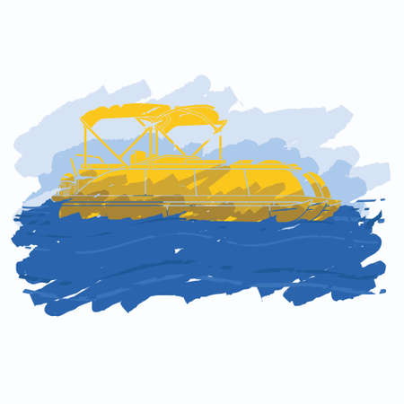 Editable Isolated Flat Brush Strokes Style Pontoon Boat on Wavy Water and Sky Vector Illustration and Semi-Oblique Side View for Artwork Element of Transportation or Recreation Related Design Vecteurs