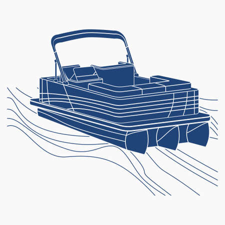 Editable Isolated Top Three-Quarter Oblique View Flat Monochrome Style Pontoon Boat on Wavy Water Vector Illustration with Blue Color for Artwork Element of Transportation or Recreation Related Design