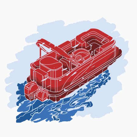 Editable Isolated Three-Quarter Top Oblique View Flat Brush Strokes Style Pontoon Boat on Wavy Water Vector Illustration for Artwork Element of Transportation or Recreation Related Design Vecteurs