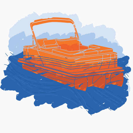 Editable Isolated Flat Brush Strokes Style Three-Quarter Top Oblique View Pontoon Boat With Water and Sky Vector Illustration for Artwork Element of Transportation or Recreation Related Design