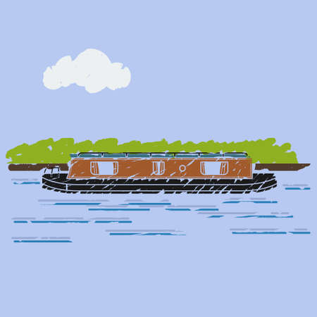 Editable Brush Strokes Style Side View Narrow Boat with River Bush and Cloud on Sky Vector Illustration for Artwork Element of Transportation or Recreation of United Kingdom or Europe Related Design