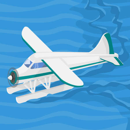 Editable Aerial Three-Quarter Oblique Front View Pontoon Floating Plane on a Wavy Lake Vector Illustration for Transportation or Recreation Related Design