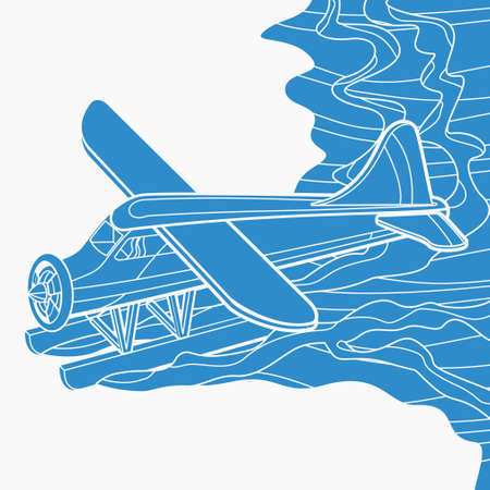 Editable Aerial Three-Quarter Oblique Front View Pontoon Floating Plane on a Wavy Lake Vector Illustration in Flat Monochrome Style for Transportation or Recreation Related Design Vecteurs