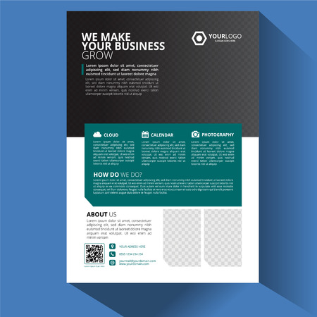 Blue Turquoise Business Flyer and Brochure Design Template
