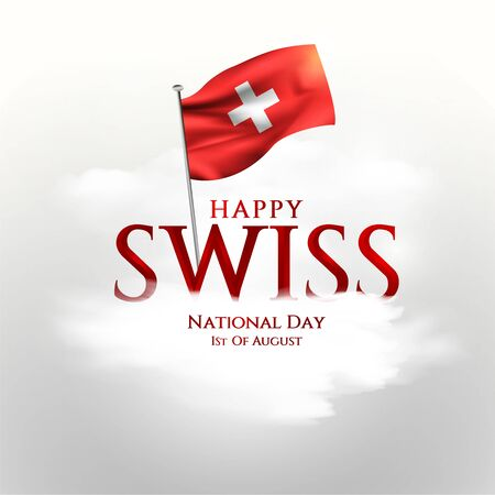 Swiss National Day celebration vector illustration with switzerland flag and patriotic elements. Creative concept for posters, greetings, banners, backgrounds and print.