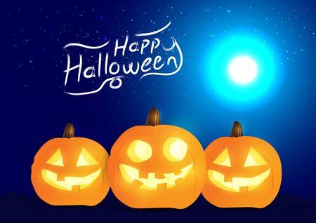 Set of halloween pumpkins and halloween typography, funny faces. Autumn holidays. Night blue background. Vector illustration EPS10. Ilustracja