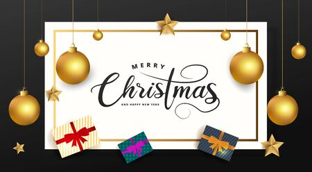 Merry Christmas and Happy New Year lettering on white rectangle on black background. Celebration card with golden balls, stars and gift boxes. Vector Illustration.