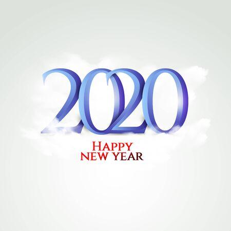 Happy New Year blue 2020 Design, Vector illustration. Çizim