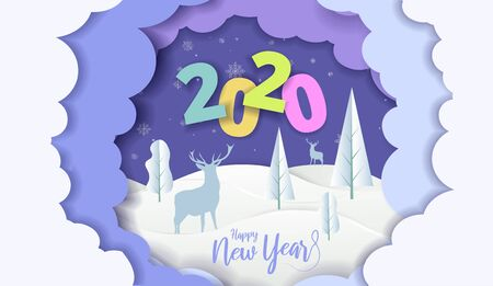 2020 New Year design card with blue sky background with clouds. Vector paper art illustration. Paper cut and craft style.