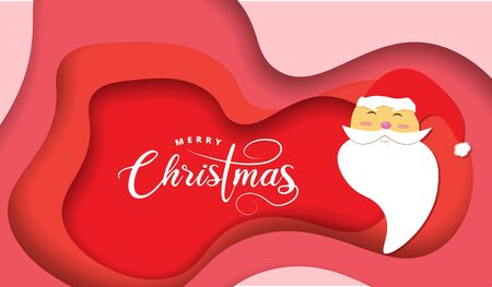 Paper layer cut greeting card design with cute Santa Claus, calligraphy for Merry Christmas celebration. Vector illustration. Çizim