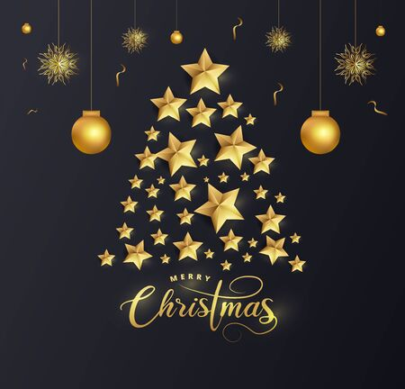 Creative Xmas tree made by golden stars with baubles and snowflake on blue background for Merry Christmas celebration. Ilustracja