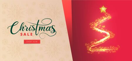Christmas Sale banner or poster design with creative xmas tree made by glitter lighting effect. Çizim