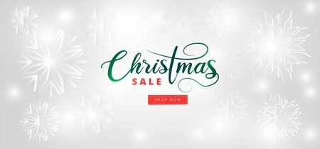 Christmas Sale header or banner design, white snowflakes and lighting garland decorated on white background.