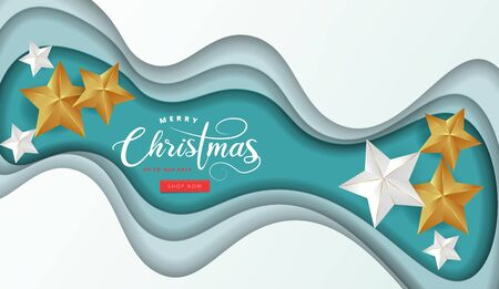 Calligraphic Merry Christmas Lettering Decorated with Gold and White Stars paper cut art background. Christmas Greeting Card