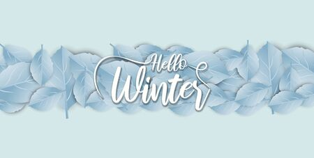 Hello Winter banner background with paper art and craft style. Calligraphy.Vector illustration template.greeting cards.