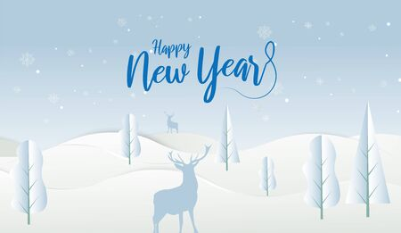 2020 New Year design card with light blue sky background. Vector paper art illustration. Paper cut and craft style. Çizim