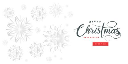 Stylish text of Merry Christmas and snowflakes decorated background. Can be used as greeting card or poster design.