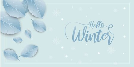 Hello Winter banner background with paper art and craft style. Calligraphy.Vector illustration template.greeting cards. Çizim