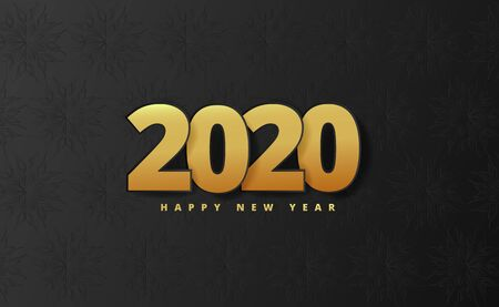 Happy new year vector banner.Golden Vector luxury text. Gold Festive Numbers Design. Happy New Year Banner