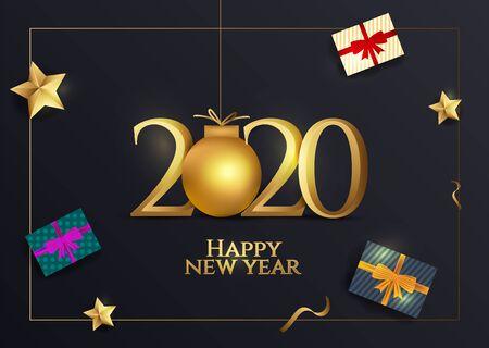 Golden text 2020 with Happy New Year celebration. Ilustracja