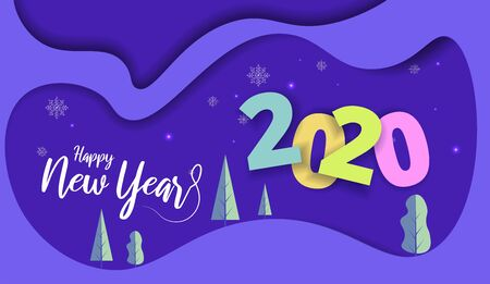 2020 New Year design card with blue sky background. Vector paper art illustration. Paper cut and craft style.