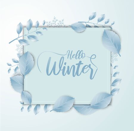 Hello Winter banner background with paper art and craft style. Calligraphy.Vector illustration template.greeting cards. Ilustracja