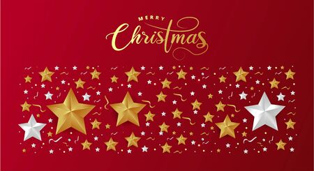Red Christmas Background with Border made of Cutout Gold Foil Stars. Chic Christmas Greeting Card. Ilustracja