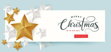 Calligraphic Merry Christmas Lettering Decorated with Gold and White Stars. Christmas Greeting Card.