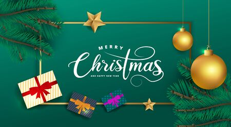 Merry Christmas and Happy New Year lettering on gold rectangle border on green background. Celebration card made with golden color Christmas balls, pine tree branches, stars and gift boxes.