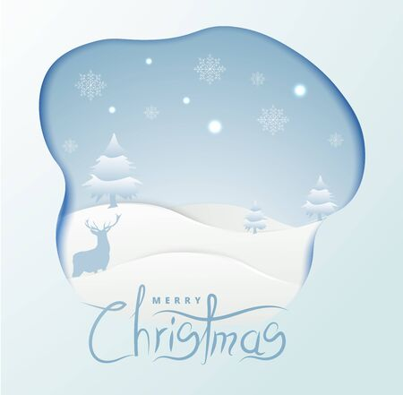 Merry Christmas banner background with paper art and craft style.Calligraphy.Vector illustration template.greeting cards. Çizim